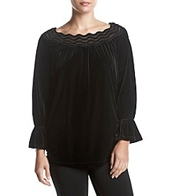 Rafaella Velvet Lace Detail Peasant Top