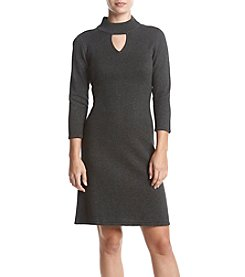 Nine West® Mock Neck Keyhole Cutout Sweater Dress