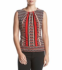 Calvin Klein Geometric Pattern Pleated Neckline Cami Top