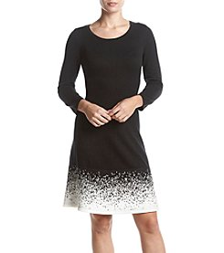 Nine West Fit And Flare Silhouette Speckled Hem Dress