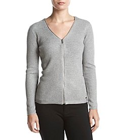 Calvin Klein Ribbed Zip Front Sweater