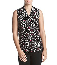 Anne Klein Triple Pleated Neckline Top