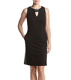 Nine West® Faux Leather Panel Keyhole Neckline Dress
