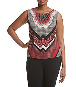 Calvin Klein Plus Size Geometric Striped Pattern Pleated Neckline Top