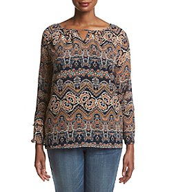 AGB Plus Size Printed Peasant Top