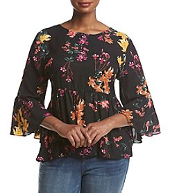 Cupio Plus Size Flared Sleeve High Low Tiered Top