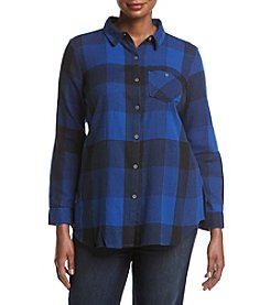 Ruff Hewn Plus Size Plaid Pattern Tunic Top