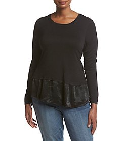 Bobeau Plus Size Satin Ruffle Hem Top