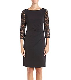 Jessica Howard Ruched Lace Dress