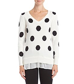 Chelsea & Theodore Dot Pattern Woven Hem Sweater