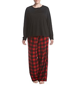 Relativity Plus Size Microfleece Pajama Set