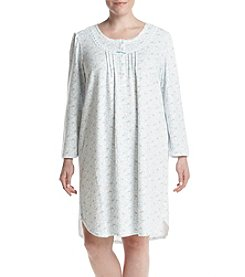 Miss Elaine Plus Size Long Sleeve Printed Sleep Gown