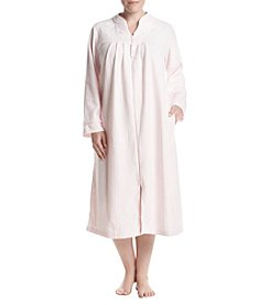 Miss Elaine Plus Size Zip Front Floral Embroidery Detail Robe