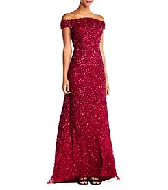 Adrianna Papell Off The Shoulder Sequin Dress