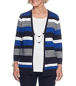 Alfred Dunner Petites' Layered Look Striped Necklace Sweater