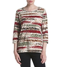 Alfred Dunner Petites' Biadere Print Tee