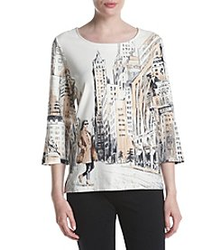 Alfred Dunner Petites' Shopping Girl In City Print Tee