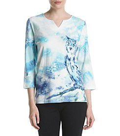 Alfred Dunner Petites' Owl Print Tee