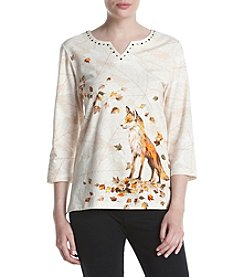 Alfred Dunner Petites' Fox Print Tee