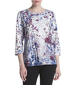 Alfred Dunner Petites' Couple Street Scenic Print Tee
