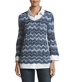 Alfred Dunner Petites' Zig Zag Two For One Sweater