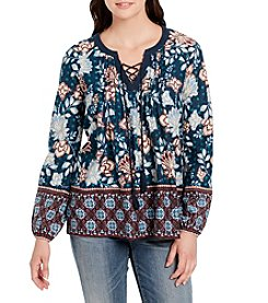 Vintage America Blues Plus Size Printed Lace Up Top