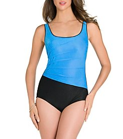 Active Spirit Textured Colorblock Tank One Piece Suit