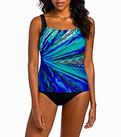 Active Spirit Bright Abstract Print Square Neck Tankini Top