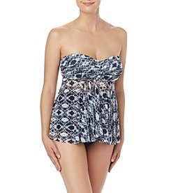 Beach House Print Mesh Bandeau Tankini Top
