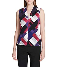 Calvin Klein Geometric Pattern Pleated V-Neck Tank Top
