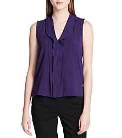 Calvin Klein Night V Neck Ruffle Blouse