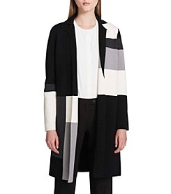 Calvin Klein Notch Collar Colorblocked Pattern Cardigan
