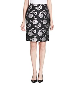 Calvin Klein Foil Floral Pattern Pencil Skirt