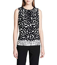 Calvin Klein Dot Pattern Pleated Neckline Top