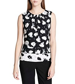 Calvin Klein Abstract Floral Print Pleated Neckline Top