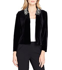 Tahari Faux Pearl and Velvet Jacket