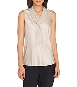 Tahari ASL Sailor Tie Blouse