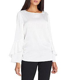 Tahari Ivory Colored Satin Ruffle Bell Sleeve Top