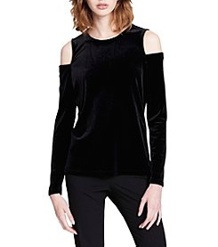 Calvin Klein Cold Shoulder Velvet Top