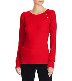 Lauren Ralph Lauren Crew Neck Button Top