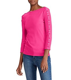 Lauren Ralph Lauren Lace Up Detail Sleeve Top
