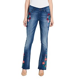 Vintage America Blues Floral Embroidery Detail Boot Cut Jeans