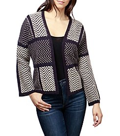 Lucky Brand Chevron Patchwork Cardigan