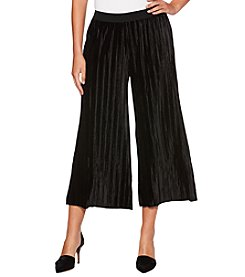 Rafaella Pleated Velvet Gaucho Pants