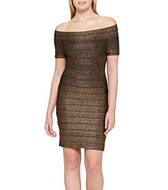 GUESS Gold Foil Off The Shoulder Banded Dress
