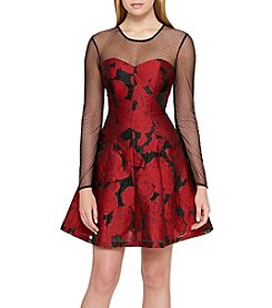 Guess Mesh Sleeve Jacquard Dress