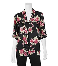 A. Byer Roses Utility Blouse