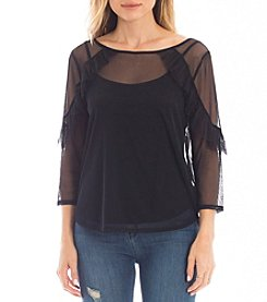 Eyeshadow Sheer Illusion Ruffle Detail Top