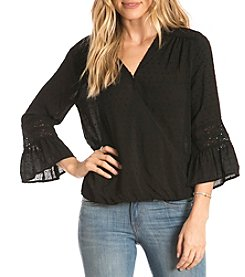 Eyeshadow Swiss Dot Wrap Front Top