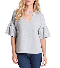 Eyeshadow Keyhole Neckline Bell Sleeve Top